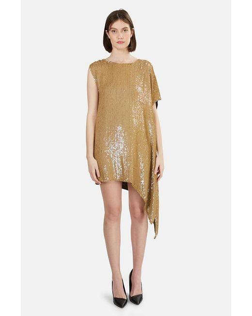 3.1 Phillip Lim Metallic Sequin Asymmetrical Draped Dress