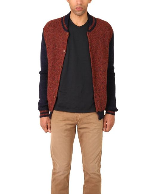 Monsieur Lacenaire   Brown Knitted Varsity Jacket for Men   Lyst