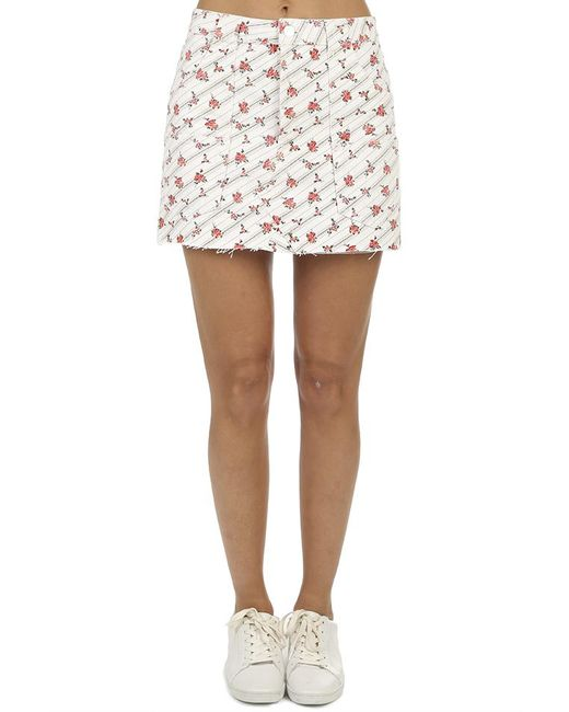 Re/done - White The Rose Print Cargo Mini Skirt - Lyst