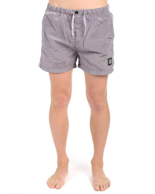 Stone Island Gray Nylon Shorts Lavender for men