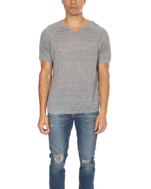 Blue&Cream - Gray Split Neck Raglan for Men - Lyst
