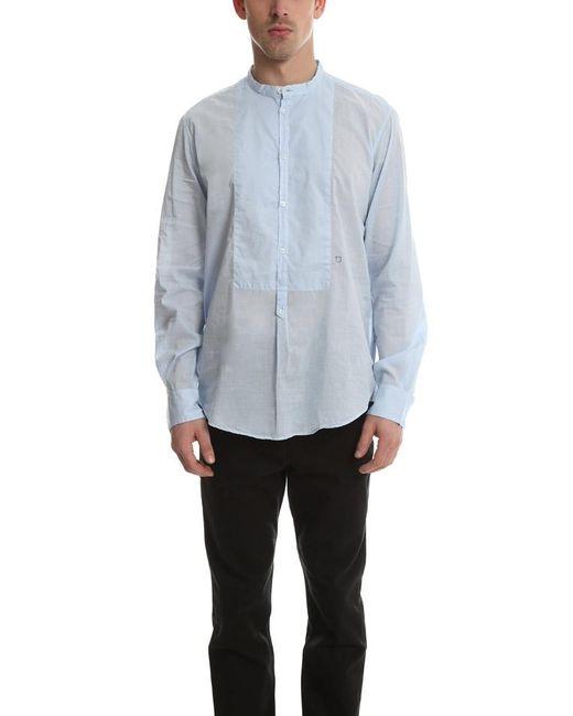 Massimo Alba Blue Priest Collared Shirt for men