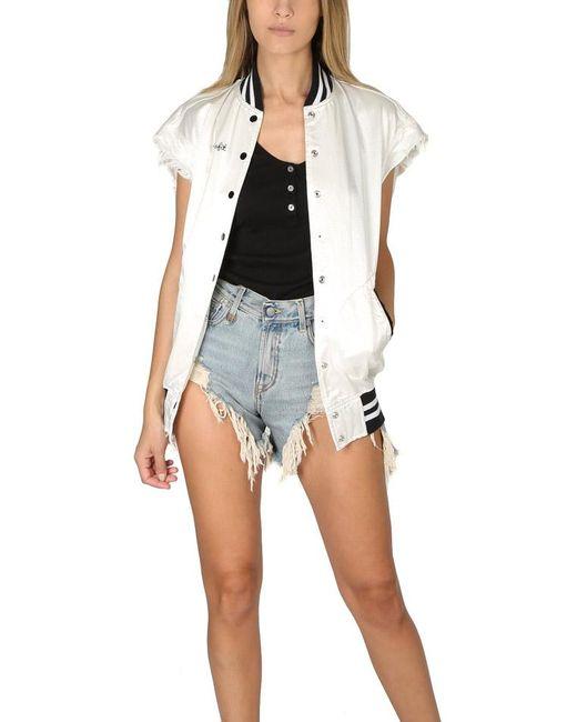 R13   White Sleeveless Misfit Varsity Jacket   Lyst