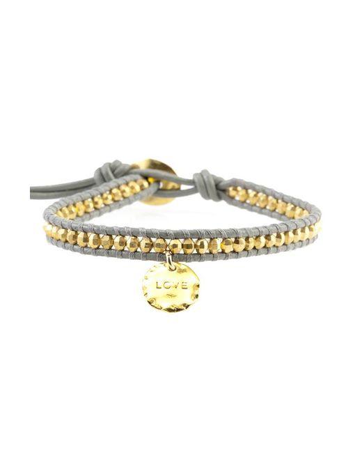 Chan Luu Metallic Gold Bead On Coconut Leather Bracelet With Love Charm Pendant