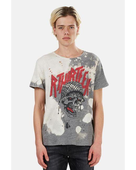 R13 Gray Battle Punk Boy Graphic T-shirt for men