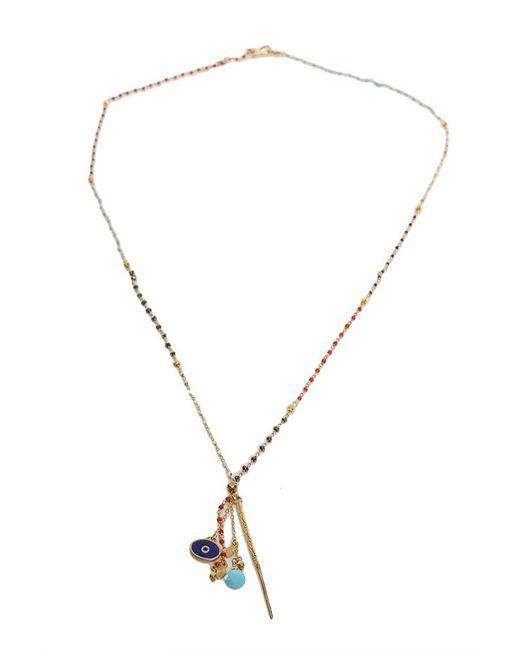 Chan Luu Metallic Aqua Multi Dagger Pendant Necklace
