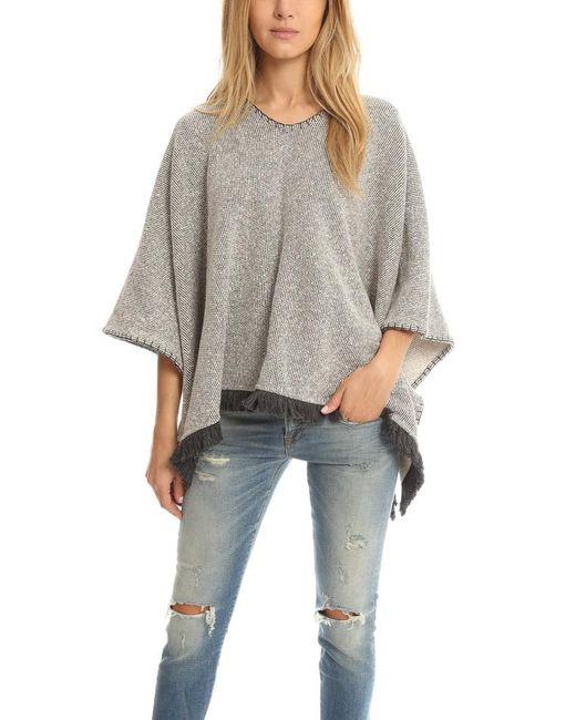 ATM Gray Poncho Blanket Stitch
