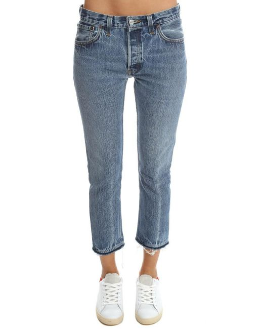 6d14a2f8b5f4e Levi s Re done Levi s No Destruction Straight Skinny Jean in Blue - Lyst
