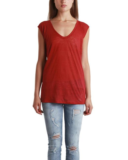 Giada Forte - Red Scoop Neck Tee - Lyst