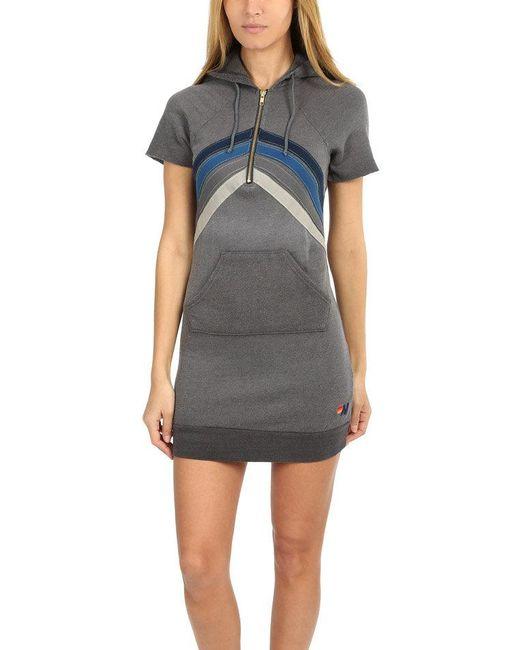 Aviator Nation - Gray Nova Hoody Dress - Lyst