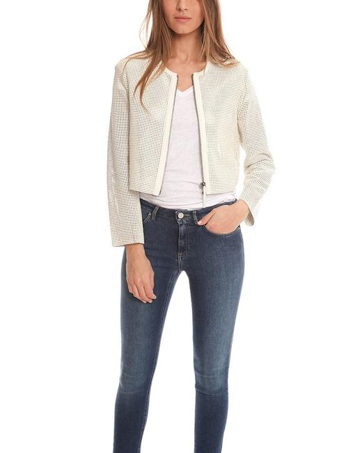 Helmut Lang | White Perforated Leather Jacket | Lyst