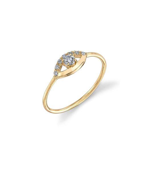 Sydney Evan - Metallic Diamond Open Evil Eye Ring - Lyst