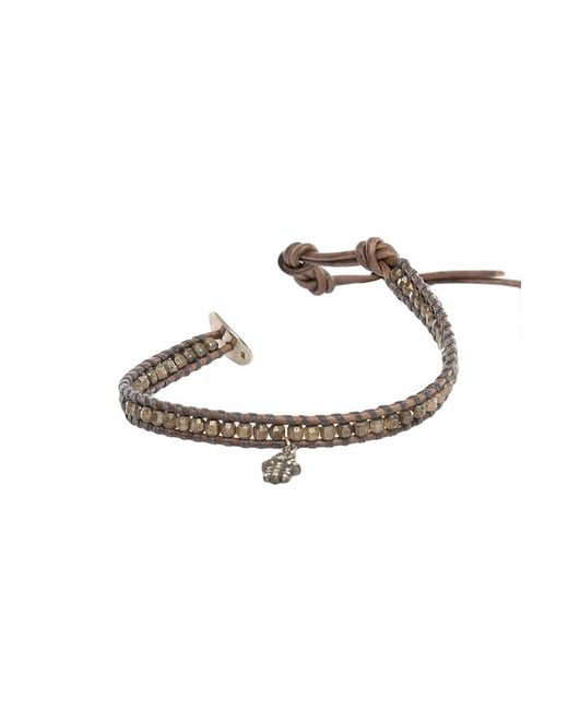Chan Luu - Brown Grey Indian Beads On Grey Leather With Champagne Diamond Charm - Lyst