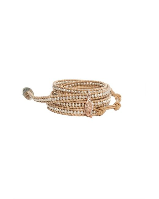 Chan Luu | Brown Silver Beads On Peach Leather Wrap With Diamond Wing Charm | Lyst