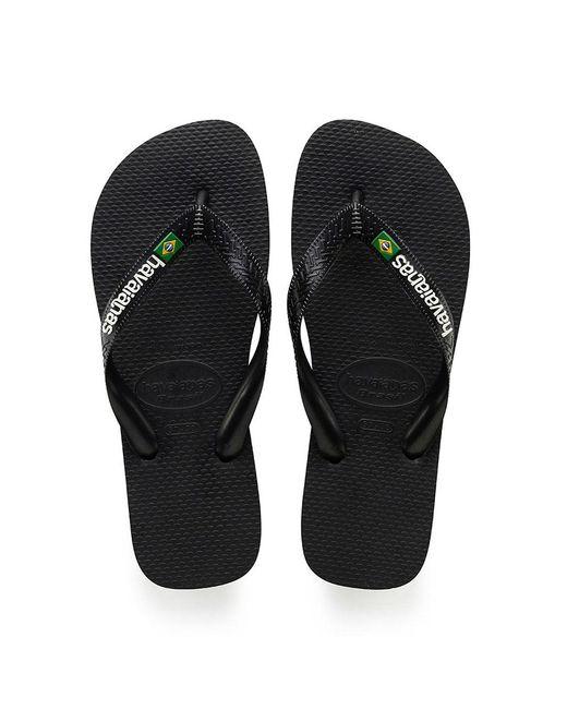Havaianas Black Brasil Logo, Unisex Adult's Flip Flops for men