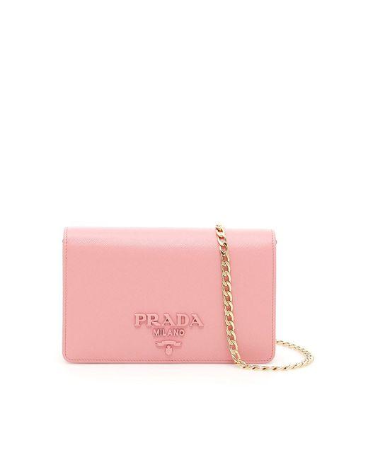 Prada - Women's Pink Leather Clutch - Lyst