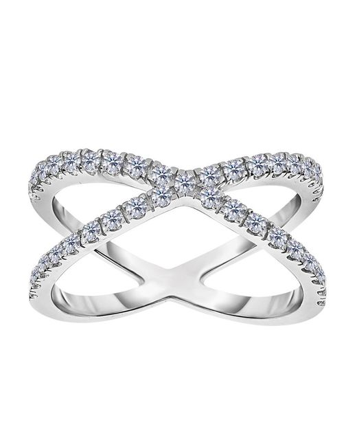 JewelryAffairs - Metallic Sterling Silver With Cz Cross Over X Design Ring - Lyst