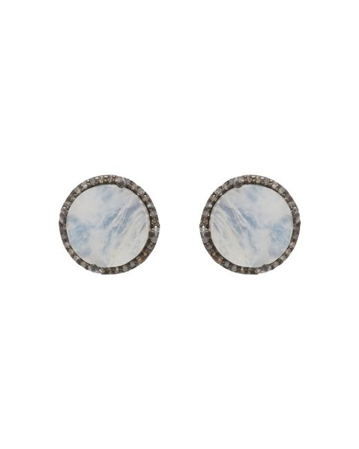 Adornia - White Moonstone And Champagne Diamond Echo Stud Earrings - Lyst