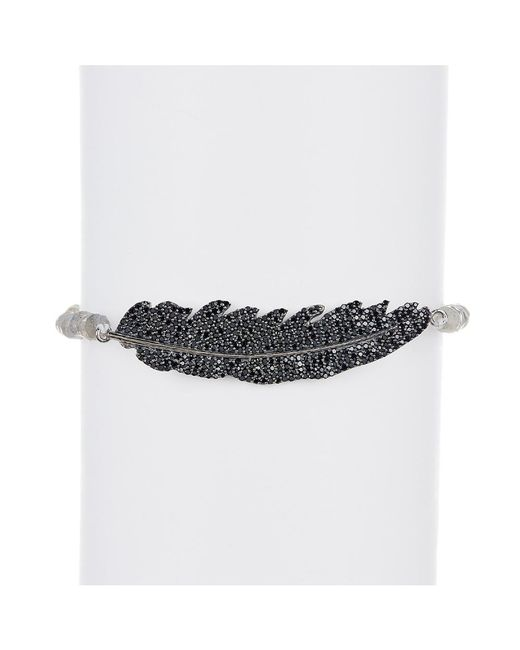 Adornia | Black Spinel And Labradorite Aria Feather Bracelet | Lyst