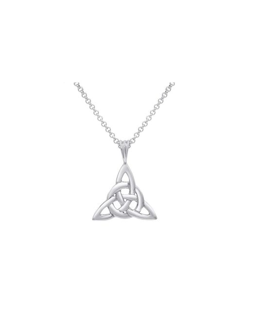 Amanda Rose Collection - Metallic Sterling Silver Good Luck Irish Celtic Knot Triangle With Pendant Necklace On An 18 Inch Box Chain - Lyst