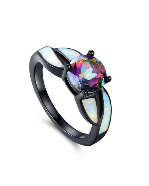 Peermont | Metallic Black Rhodium White Opal & Mystic Topaz Ring | Lyst