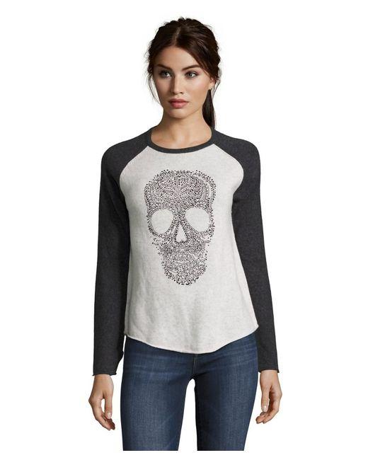 27 Miles Malibu | Black Long Sleeve Patricia Skull Crewneck Cashmere Sweater | Lyst