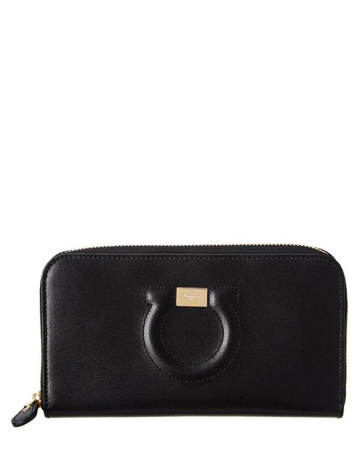 Ferragamo | Black Gancini Embossed Leather Zip-around Wallet | Lyst