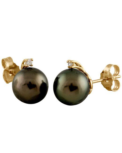 Splendid - Multicolor Diamond Accented Tahitian Pearl Stud Earrings - Lyst