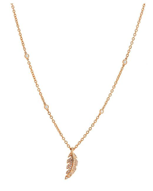 CR By Casa Reale - Metallic 14 K Gold White Diamond Feather Necklace - Lyst