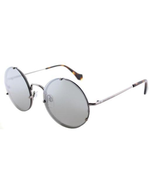 Balenciaga | Multicolor Ba0086 14c Shiny Light Ruthenium Round Sunglasses | Lyst