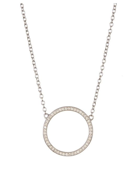Adornia - Metallic Sterling Silver And Swarovski Crystal Circular Necklace - Lyst