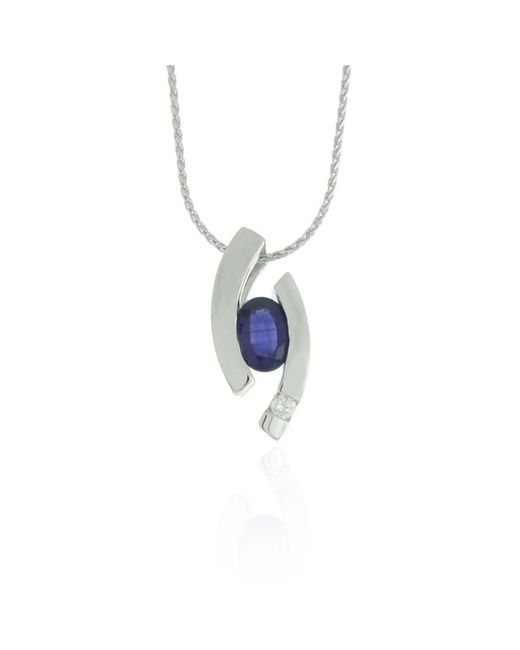 Suzy Levian - Modern 14k White Gold 7/8ct Sapphire And Diamond Accent Birthstone Pendant - Lyst