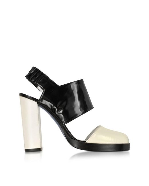 Jil Sander   Women's Js2229600509 White/black Leather Sandals   Lyst