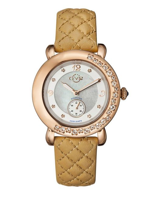 Gv2 - Metallic Marsala Women's Swiss Quartz White Leather Strap Watch - Lyst