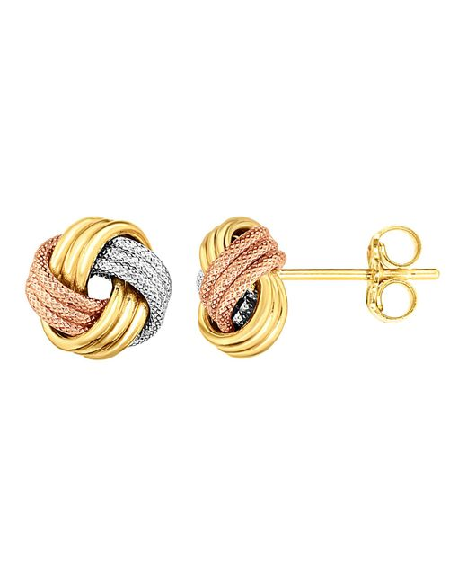 JewelryAffairs - Multicolor 14k Tricolor Shiny And Textured Finish Love Knot Earrings - Lyst