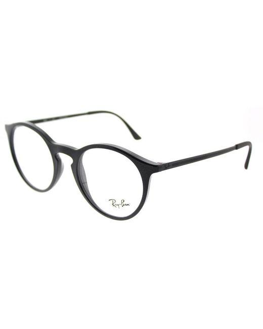 Ray-Ban - Rx 7132 2000 48mm Shiny Black Round Eyeglasses - Lyst