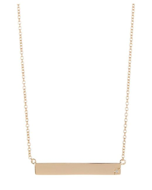 Adornia   Yellow Gold Vermeil And Diamond Bar Necklace   Lyst