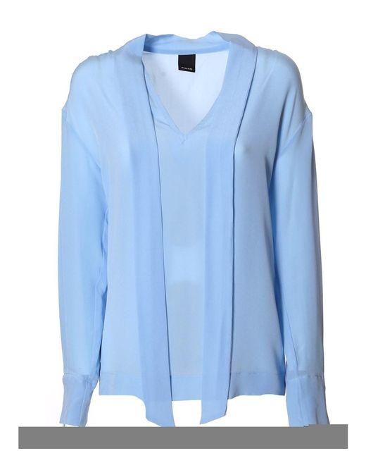Pinko Women 39 S Light Blue Silk Blouse In Blue Lyst