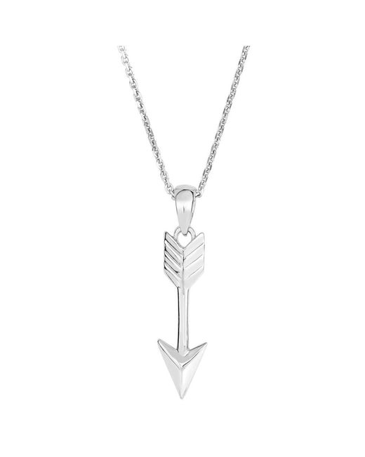 JewelryAffairs - White Sterling Silver Drop Arrow Sliding Pendant Necklace, 18 - Lyst