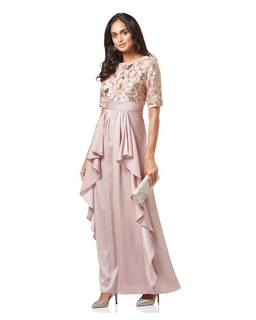 Lyst - Adrianna Papell Short Sleeve Ruffled Evening Gown With Floral ...