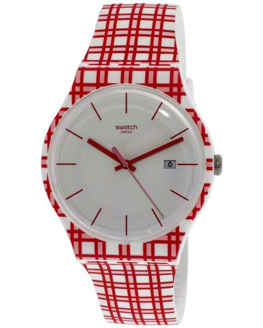 Swatch - Piknik Suow401 Red Silicone Swiss Quartz Fashion Watch - Lyst