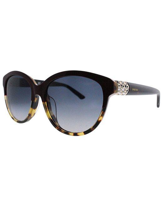 e16525b915 Swarovski - Asian Fit Sk 89 72f 57 Shiny Bordeaux Black Horn Round  Sunglasses - Lyst ...