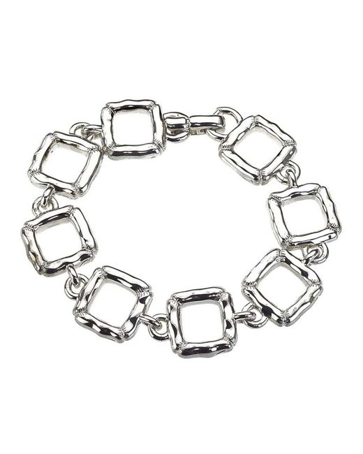 Jewelista - White Sterling Silver Slim Quilted Bracelet - Lyst