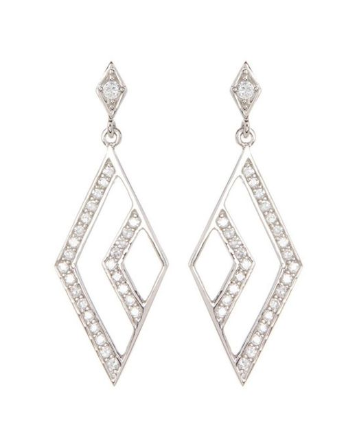 Adornia - Metallic Sterling Silver And Swarovski Crystal Open Marquis Drop Earrings - Lyst
