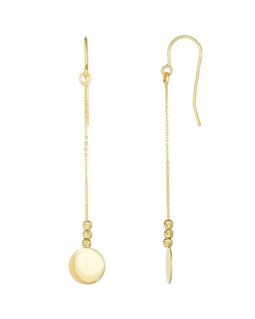 JewelryAffairs - 10k Yellow Gold Diamond Cut Bead With Flat Shiny Disc Drop Earrings - Lyst