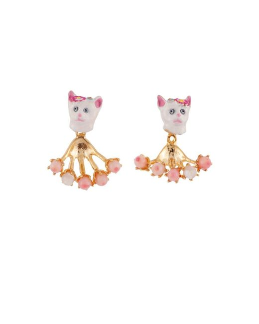 Les Nereides - White Little Cats Face And Removable Pearly Clasp Earrings - Lyst