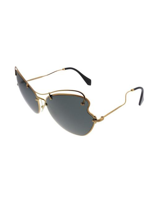 Miu Miu - Metallic Scenique Collection Mu 56rs 7oe1a165 Antique Gold Cat-eye Sunglasses - Lyst