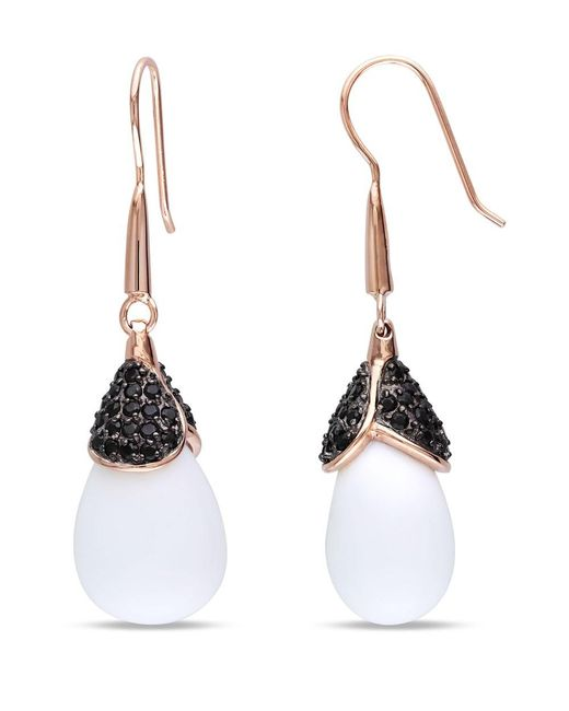 Catherine Malandrino | Pink Synthetic White Agate And Black Cz Drop Earrings | Lyst