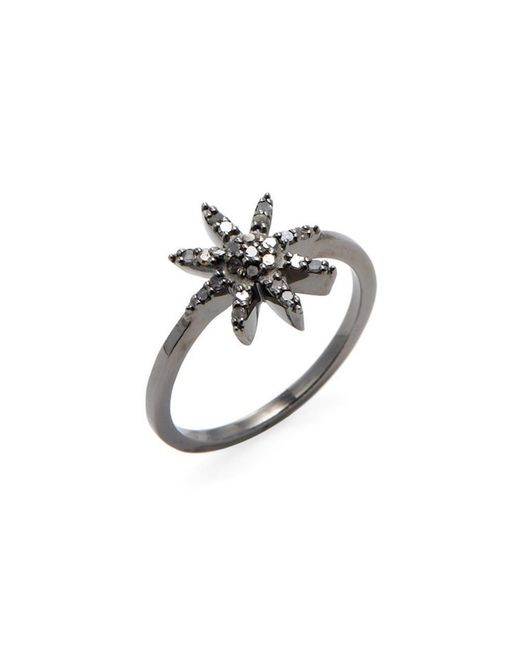 Adornia - Metallic Sterling Silver And Champagne Diamond Mini Starburst Ring - Lyst