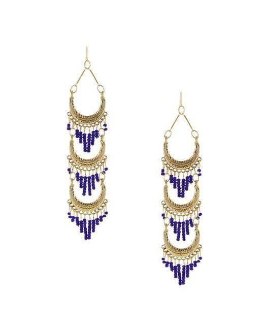 Sparkling Sage - Metallic 14k Plated Layered Seed Bead Tassel Drop Earrings - Lyst
